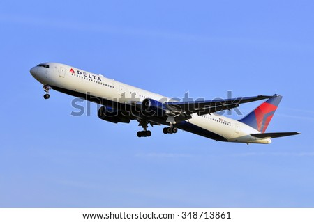 FRANKFURT,GERMANY-APR10:airplane of Delta Air Lines above the Frankfurt airport on April 10,2015 in Frankfurt,Germany.Delta Air Lines, Delta short, is an American airline based in Atlanta.