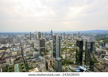 FRANKFURT, GERMANY - APR 24: The skyline view of Frankfurt on April 24, 2014 in Germany. Frankfurt is the fifth-largest city in Germany. The photo is shooting at the top of the Main Tower.