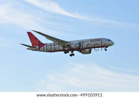 FRANKFURT,GERMANY - APRIL 29: Air India Boeing 787-8 on April 29,2016 in Frankfurt, Germany.Air India - flag carrier airline of India and the third largest airline in India.