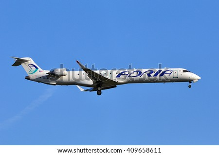 FRANKFURT,GERMANY-APRIL 21:airplane of Adria Airways over the Frankfurt airport on April 21,2016 in Frankfurt,Germany.Adria Airways is the Slovenian national airline.