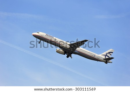 FRANKFURT,GERMANY-APRIL 10:airplane of Aegean Airlines on April 10,2015 in Frankfurt,Germany.Aegean Airlines S.A. is the largest Greek airline.