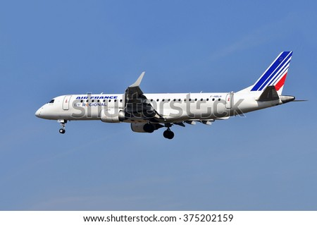 FRANKFURT,GERMANY-APRIL 10:airplane of Air France on April 10,2015 in Frankfurt,Germany.Air France, stylized as AIRFRANCE, is the French flag carrier headquartered in Tremblay-en-France.