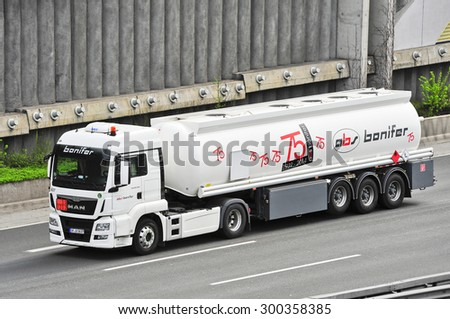 FRANKFURT,GERMANY - APRIL 16: Bonifer oil truck on the highway on April 16,2015 in Frankfurt, Germany.