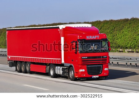 FRANKFURT,GERMANY-APRIL 10:DAF truck on the highway on April 10,2015 in Frankfurt,Germany. - stock photo