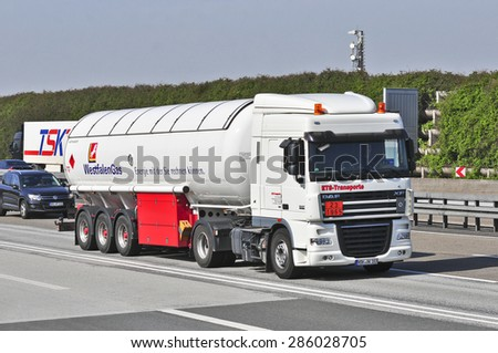 FRANKFURT,GERMANY - APRIL 10:oil truck on the highway on April 10,2015 in Frankfurt, Germany.