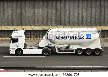 FRANKFURT,GERMANY - APRIL 16:oil truck on the highway on April 16,2015 in Frankfurt, Germany.