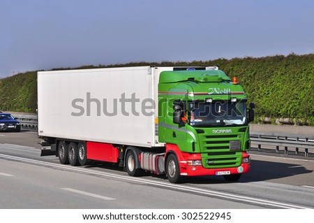 FRANKFURT,GERMANY-APRIL 10:SCANIA truck on the highway on April 10,2015 in Frankfurt,Germany.
