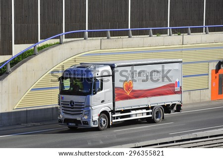 FRANKFURT,GERMANY-APRIL 24: truck on the higway on April 24,2015 in Frankfurt,Germany.