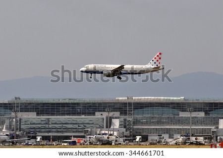 FRANKFURT,GERMANY-AUG 10:airplane of Croatia Airlines above the Frankfurt airport on August 10,2015 in Frankfurt,Germany.