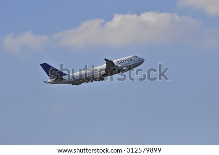 FRANKFURT,GERMANY-AUG 21:airplane of United Airlines above the Frankfurt airport on August 21,2015 in Frankfurt,Germany.Is a major American airline carrier headquartered in Chicago, Illinois.