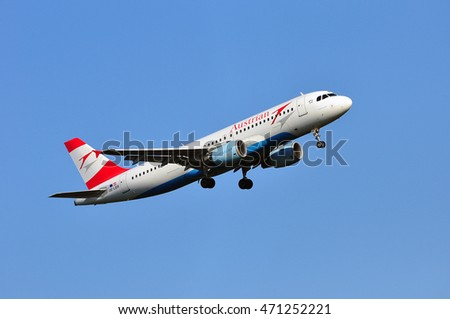 FRANKFURT,GERMANY-AUG 18:Austrian Airlines Airbus A320-214 on August 18,2016 in Frankfurt,Germany.Austrian Airlines is the flag carrier of Austria and a subsidiary of the Lufthansa Group.