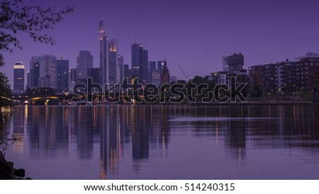 FRANKFURT,GERMANY-AUG 25:Frankfurt's Skyline by Main River on August 25,2016 in Frankfurt,Germany. Frankfurt is the financial center of Germany. Frankfurt is the financial center of Germany.