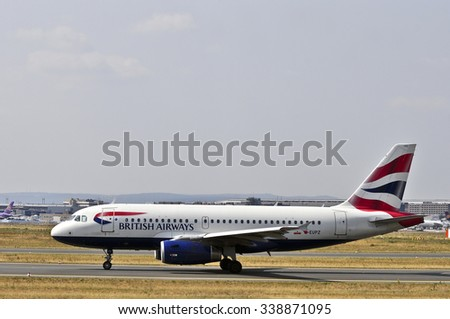 FRANKFURT,GERMANY-AUGUST 10: airplane of British Airways in Frankfurt airport on August 10,2015 in Frankfurt,Germany.British Airways is the flag carrier airline of the United Kingdom. - stock photo