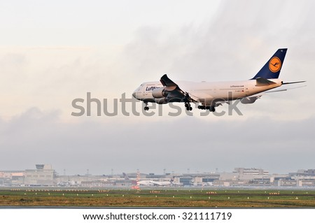 FRANKFURT,GERMANY-AUGUST 10:airplane of Lufthansa above the Frankfurt airport on August 10,2015 in Frankfurt,Germany.LUFTHANSA is a German airline and the largest airline in Europe.