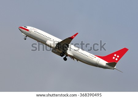 FRANKFURT,GERMANY-AUGUST 10:airplane of PrivatAir  on August 10,2015 in Frankfurt,Germany.PrivatAir is a Swiss airline operating business jets, headquartered at Geneva International Airport in Meyrin.