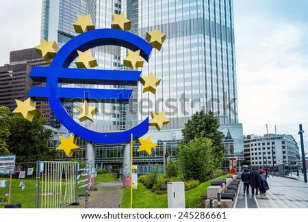 Frankfurt, Germany-August 16 : Euro Sign. European Central Bank (ECB) is the central bank for the euro and administers the monetary policy of the Eurozone. August 16, 2014 in Frankfurt, Germany.  - stock photo
