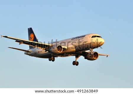 FRANKFURT,GERMANY-AUGUST 25: LUFTHANSA aircraft  on August 25,2016 in Frankfurt,Germany.Lufthansa is the largest airline in Germany and  Europe.