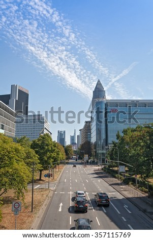 FRANKFURT, GERMANY - AUGUST 23, 2015: road to Frankfurt from the west to the fairgrounds