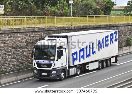 FRANKFURT,GERMANY-AUGUST 18: truck on the highway on August 18,2015 in Frankfurt,Germany.