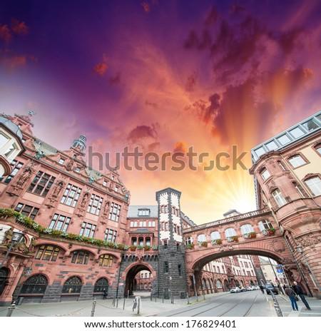 Frankfurt, Germany. Beautiful medieval buildings of old town. - stock photo