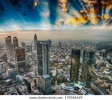 Frankfurt, Germany. City skyline at sunset. - stock photo