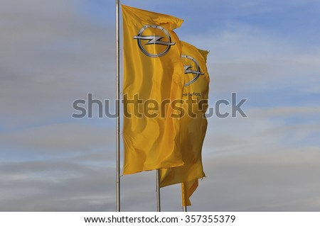 FRANKFURT,GERMANY-DEC 22::OPEL flag on December 22,2015 in Frankfurt,Germany.Opel is a German automobile manufacturer  and a subsidiary of the American General Motors Company. - stock photo