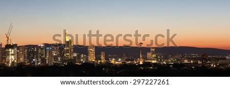 frankfurt germany evening skyline - stock photo
