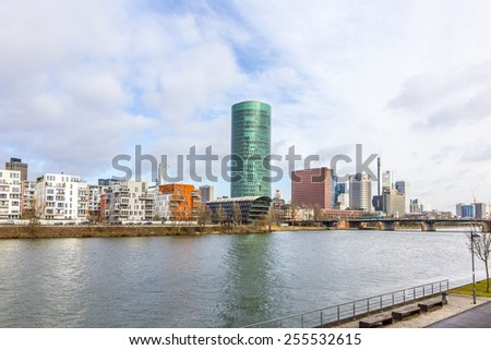 FRANKFURT, GERMANY - FEB 24, 2015: Westhafen tower in the harbor area in Frankfurt, Germany. The West harbor Tower won the Martin-Elsaesser-plate in 2004 due to his unique architecture.