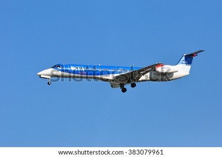 FRANKFURT,GERMANY-FEBR 25:airplane of BMI Regional above the Frankfurt airport on February 25,2016 in Frankfurt,Germany,BMI - is a British regional airline.
