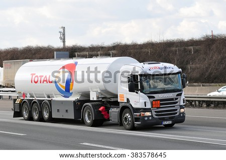 FRANKFURT,GERMANY-FEBR 25:of TOTAL the highwayon February 25,2016 in Frankfurt,Germany.Total S.A. is a French multinational integrated oil and gas company.