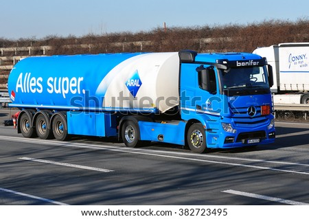 FRANKFURT,GERMANY - FEBR 25:  oil truck of ARAL on the highway on February 25,2016 in Frankfurt, Germany.