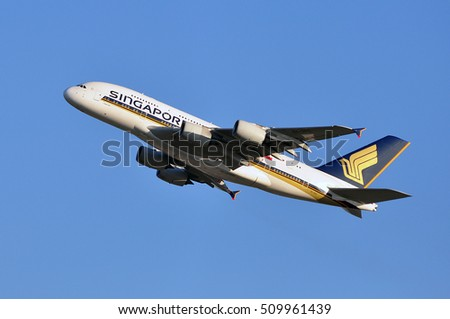 FRANKFURT,GERMANY-FEBR 25:Singapore Airlines Limited Airbus A380 approaching Frankfurt airport on February 25,2016 in Frankfurt,Germany.Singapore Airlines Limited is the flag carrier of Singapore.