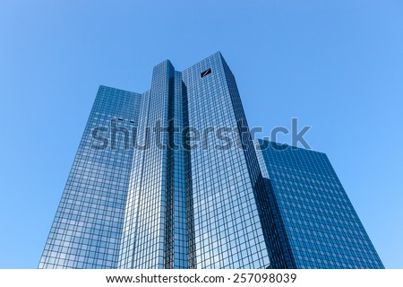 FRANKFURT, GERMANY - FEBRUARY 14, 2015: The Deutsche Bank Twin Towers, also known as Deutsche Bank Headquarters, is a twin tower skyscraper complex in Frankfurt, Germany. - stock photo