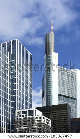 FRANKFURT, GERMANY - FEBRUARY 19: The tower of the Commerzbank between office buildings on February 19, 2013 in Frankfurt / Commerzbank