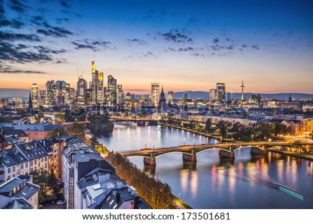 Frankfurt, Germany financial district skyline. - stock photo