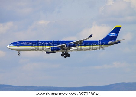 Frankfurt/Germany july 4, 2019: Airbus A340 from Safi Airliners at Frankfurt Airport. - stock photo