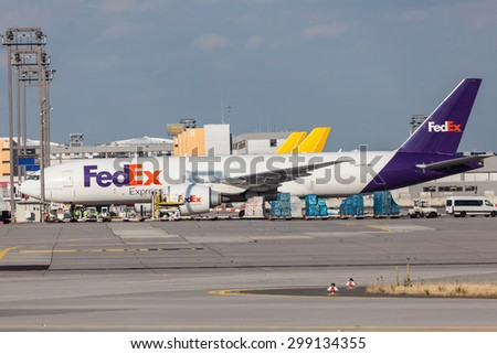 FRANKFURT, GERMANY - JULY 21:FedEx Express Aircraft at the cargo terminal of Frankfurt International Airport (FRA). July 21, 2015 in Frankfurt Main, Germany