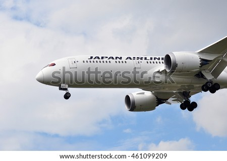 FRANKFURT,GERMANY-JULY 28:Japan Airlines Boeing 787 above the Frankfurt International Airport airport on July 28,2016 in Frankfurt,Germany.Japan Airlines is the largest airline company in Japan.