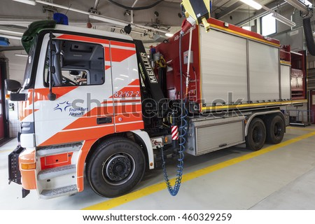 FRANKFURT, GERMANY - JULY 24, 2016: Modern fire trucks at the airport Fire Department in Frankfurt Main International Airport