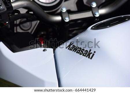FRANKFURT,GERMANY-JUNE 17: KAWASAKI logo on June 17,2017 in Frankfurt,Germany.