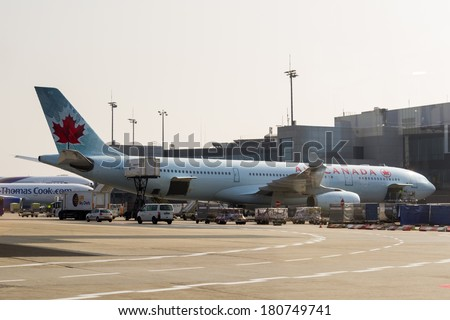FRANKFURT, GERMANY - MAR 6, 2014: Aircraft of the Air Canada company parked at the Frankfurt Intrnational Airport. The Frankfurt Airport is one of the largest airports in the world.