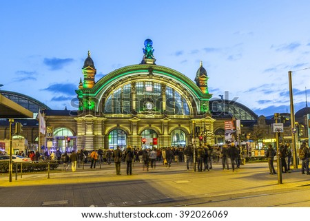 FRANKFURT, GERMANY - MAR 17, 2016: Illuminated central station at night during Luminale  in Frankfurt, Germany. The Light festival takes place in Frankfurt every 2 years and lasts one week. - stock photo