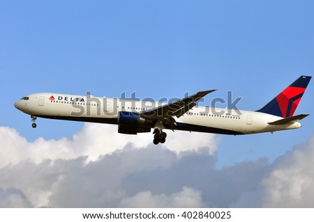FRANKFURT,GERMANY-MARCH 10:airplane of Delta Air Lines in the Frankfurt airport on March 10,2016 in Frankfurt,Germany.Delta Air Lines, Delta short, is an American airline based in Atlanta.