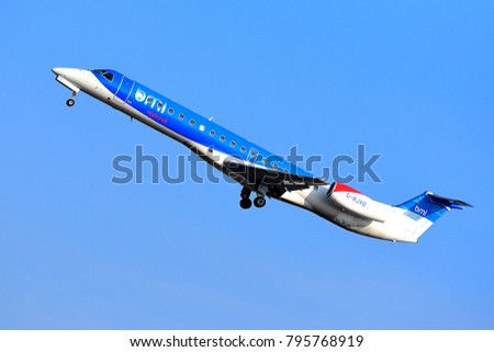 FRANKFURT,GERMANY-MARCH 16,2017: bmi Regional G-RJXD Embraer 135/145 lands at Frankfurt airport.British Midland Regional Limited, trading recently as Flybmi.com is a British regional airline,
