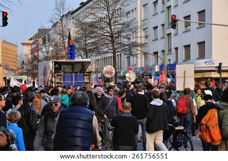FRANKFURT, GERMANY - MARCH 18, 2015: Crowds of protesters, Demonstration Blockupy - stock photo