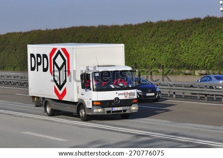 FRANKFURT,GERMANY-MARCH 28:DPD van on the highway on March 28,2015 in Frankfurt,Germany.Dynamic Parcel Distribution or DPD is an international parcel delivery company owned by GeoPost.