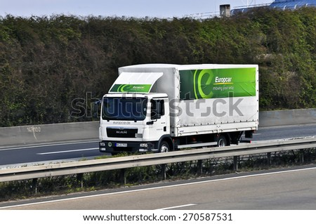 FRANKFURT,GERMANY-MARCH 28:MAN truck of Europcar on March 28,2015 in Frankfurt,Germany. MAN SE, formerly MAN AG, is a German mechanical engineering company and parent company of the MAN Group. - stock photo