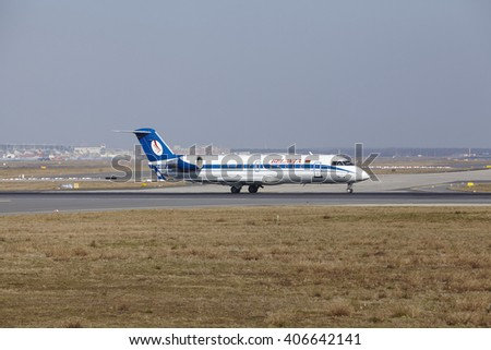 FRANKFURT, GERMANY - MARCH, 18. The Belavia Canadair CRJ-100ER with identification EW-100PJ takes off at Frankfurt International Airport (Germany, FRA) on March 18, 2016.