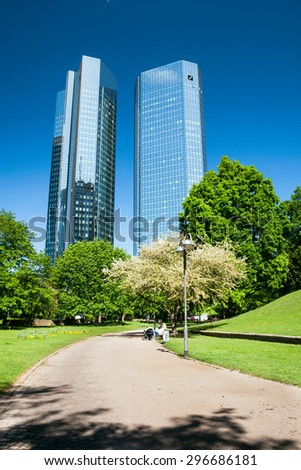 FRANKFURT,GERMANY 5 MAY 2015: Administrative center with Deutsche Bank headquarter shot from the park - stock photo