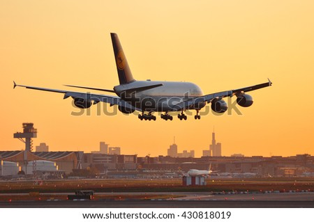 FRANKFURT,GERMANY-MAY 05:Airbus A 380-800 of Lufthansa in the morning sun above Frankfurt airport on May 05,2016 in Frankfurt,Germany.Lufthansa-German airline and also the largest airline in Europe.